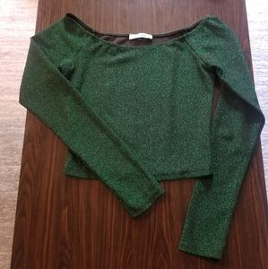 Clé luv (Forever 21) Green Sparkle LongSleeve Crop